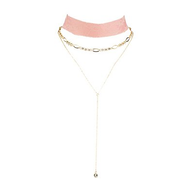 Lace Choker & Layered Lariat Necklace - 2 Pack