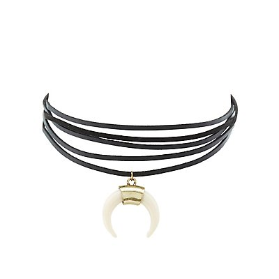 Faux Suede Wrapped Choker Necklace