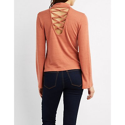 Mock Neck Lattice-Back Top