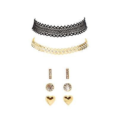 Choker Necklaces & Earrings Set
