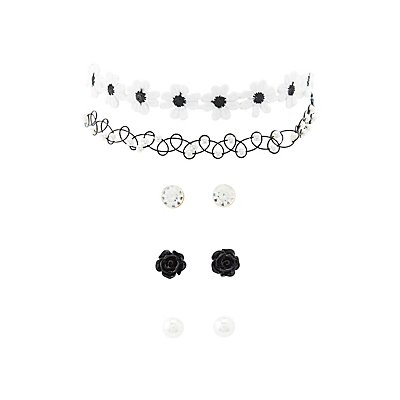 Crochet Choker Necklaces & Earrings Set