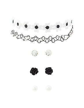 Crochet Choker Necklaces & Earrings Set