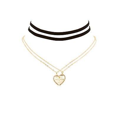Best Friends Charm & Velvet Choker Necklaces - 4 Pack