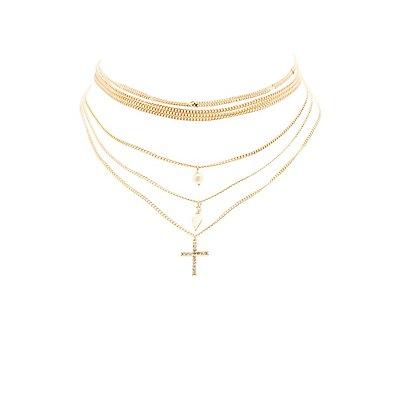 Multistrand Cross Choker Necklace