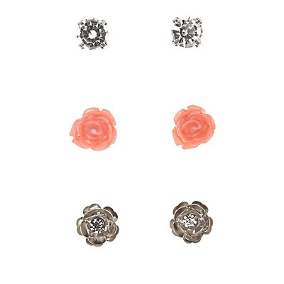 Textured Hoop & Stud Earrings Set