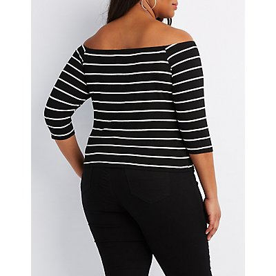 Plus Size Ribbed Off-The-Shoulder Top