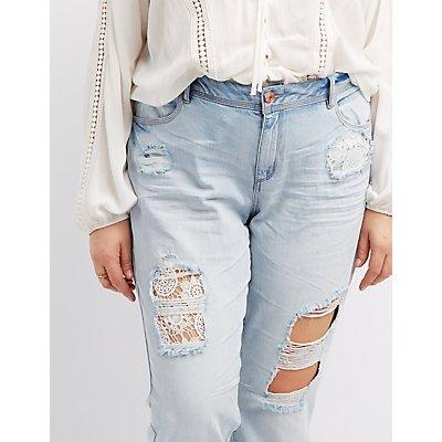 Plus Size Refuge Skinny Crochet Destroyed Jeans