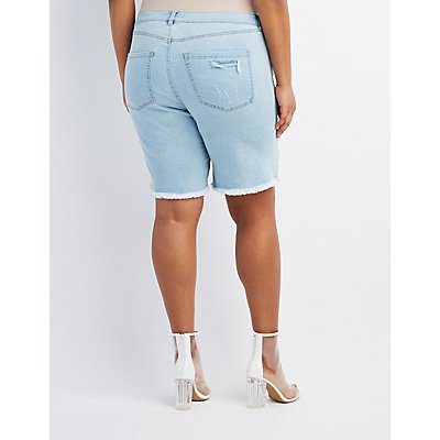 Plus Size Refuge Bermuda Cut-Off Denim Shorts