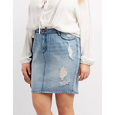 Plus Size Refuge Destroyed Denim Pencil Skirt
