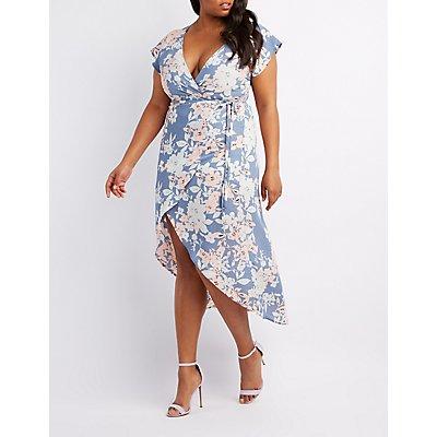 Plus Size Floral High-Low Wrap Dress