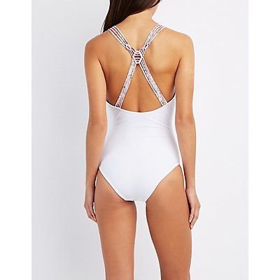 Paisley Caged Plunging One-Piece Swimsuit