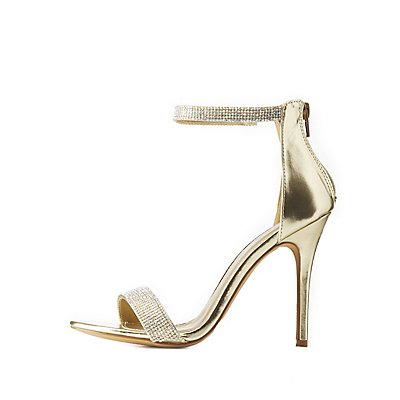 Embellished Metallic Two-Piece Dress Sandals