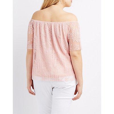 Plus Size Lace Off-The-Shoulder Top