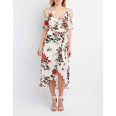 Floral Cold Shoulder Maxi Wrap Dress