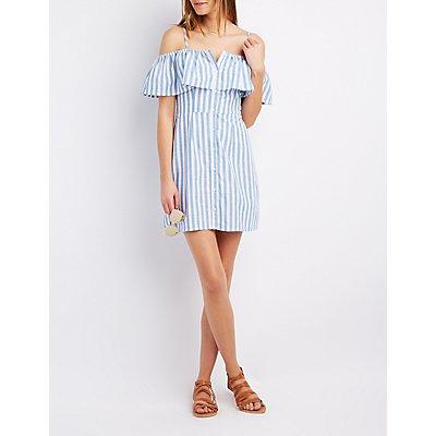 Striped Cold Shoulder Button-Up Dress