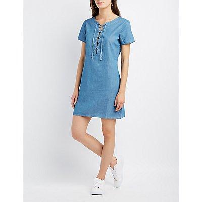 Chambray Lace-Up Shift Dress