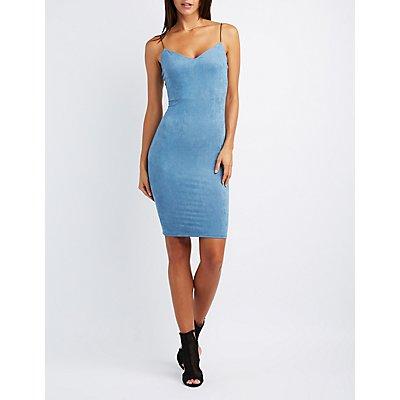Faux Suede Slip Dress