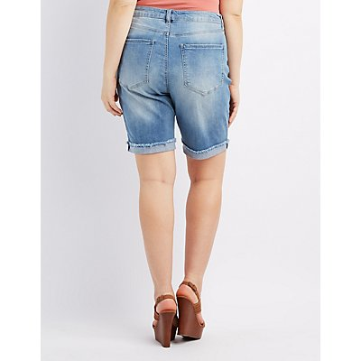 Plus Size Refuge Destroyed Denim Bermuda Shorts