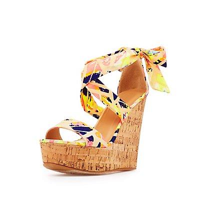 Bamboo Printed Cork Wedge Sandals