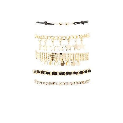 Star Charm Layering Bracelets - 5 Pack
