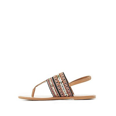Embellished Embroidered Sandals