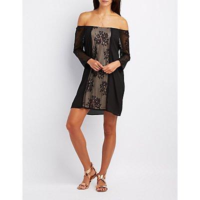 Lace-Trim Off-The-Shoulder Shift Dress