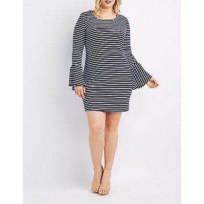 Plus Size Striped Bell Sleeve Dress