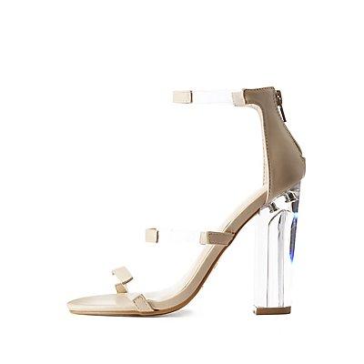 Bamboo Three-Piece Lucite Heel Sandals