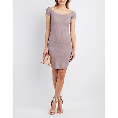 Ribbed Wide Neck Dress