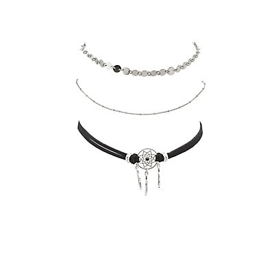Dream Catcher Choker Necklaces - 3 Pack