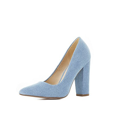 Denim Pointed Toe Block Heel Pumps