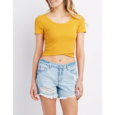 Ribbed Wrap-Front Crop Top