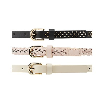 Plus Size Studded, Braided & Laser Cut Belts - 3 Pack