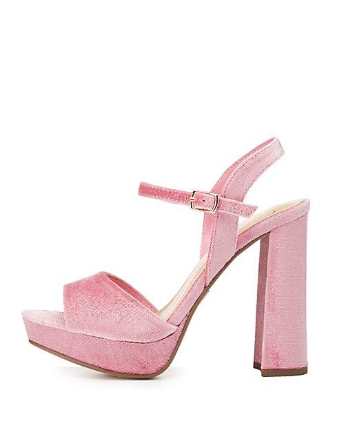 12d8721b0fca Velvet Two-Piece Platform Sandals