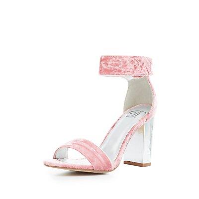 Velvet Metallic Heel Sandals