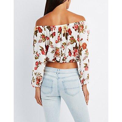 Floral Off-The-Shoulder Split Sleeve Top