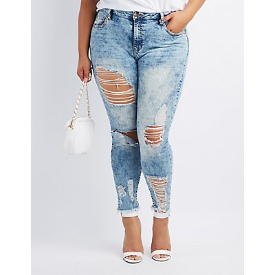 Plus Size Cello Destroyed Acid Wash Skinny Jeans