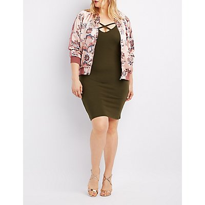 Plus Size Floral Satin Bomber Jacket