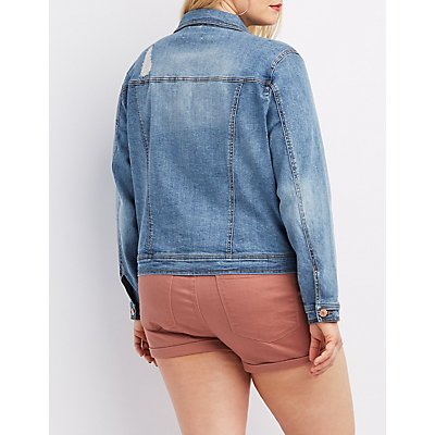 Plus Size Refuge Distressed Denim Jacket