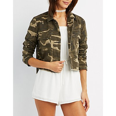 Camo Cropped Anorak Jacket