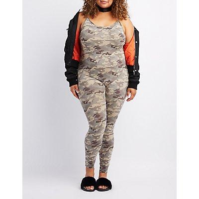 Plus Size Camo Bodycon Jumpsuit