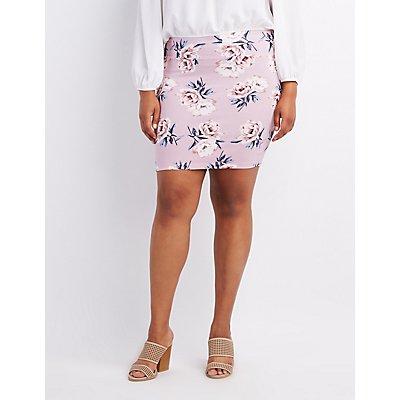 Plus Size Floral Print Bodycon Mini Skirt