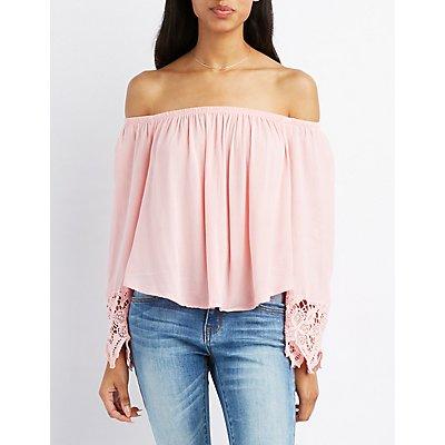 Off-The-Shoulder Crochet-Sleeve Top