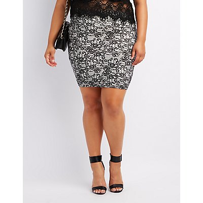 Plus Size Lace Print Bodycon Mini Skirt