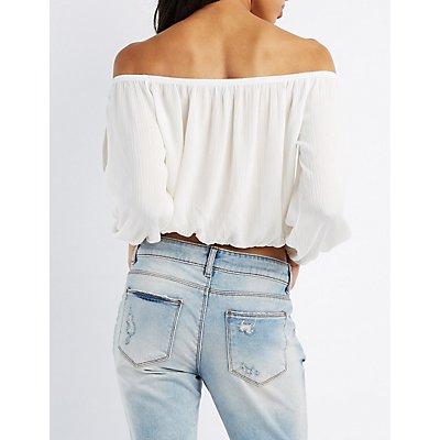 Off-The-Shoulder Split Sleeve Top