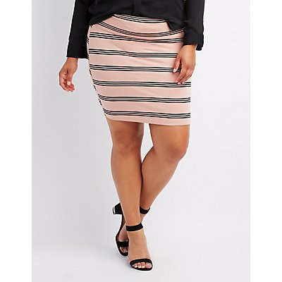 Plus Size Striped Bodycon Mini Skirt