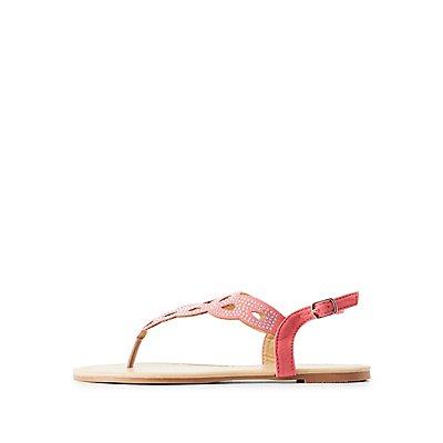Rhinestone Embellished Laser Cut Sandals