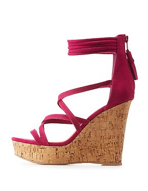 Faux Suede Strappy Wedge Sandals