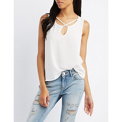 Strappy Notched Tank Top
