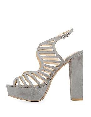 Laser Cut Platform Slingback Sandals